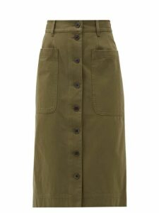 Sea - Corbin Buttoned Cotton Blend Skirt - Womens - Khaki