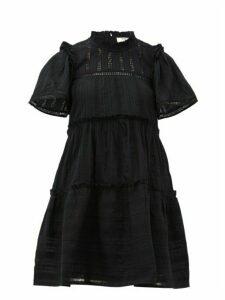 Sea - Pascale Ruffled Cotton Dress - Womens - Black