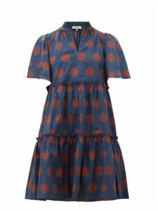 Sea - Penny Spot Print Tiered Cotton Blend Dress - Womens - Navy Multi