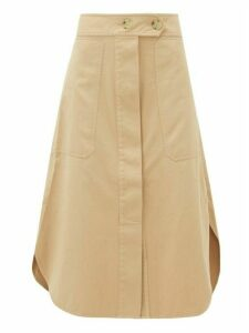 Lee Mathews - Workroom Patch Pocket Organic Cotton Midi Skirt - Womens - Camel