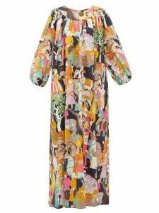Marta Ferri - Eastern Print Cotton Maxi Dress - Womens - Multi