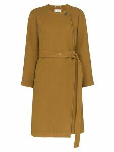 Chloé curved hem belted coat - Brown