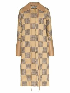 Loewe check pattern cocoon style coat - NEUTRALS