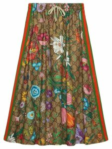 Gucci Flora pattern A-line skirt - Brown