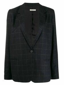 6397 button down checked blazer - Blue