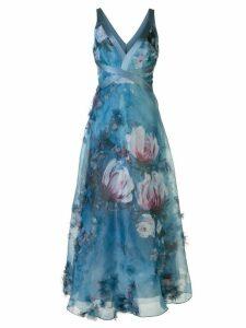 Marchesa Notte v-neck floral print effect dress - Blue