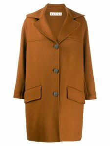 Marni loose fit single-breasted coat - Brown