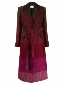 Mary Katrantzou ombre check print coat - Red