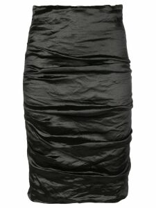 Nicole Miller ruched midi skirt - Black