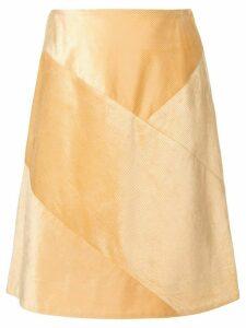 Des Prés corduroy patchwork skirt - Yellow