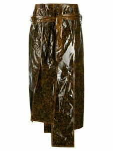 Rokh structured faux-leather skirt - NEUTRALS