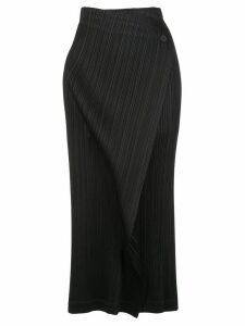 Pleats Please Issey Miyake pleated midi wrap skirt - Black