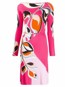 Emilio Pucci leaf print belted dress - PINK