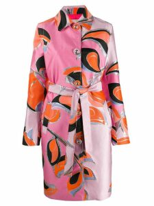 Emilio Pucci patterned single-breasted coat - Pink