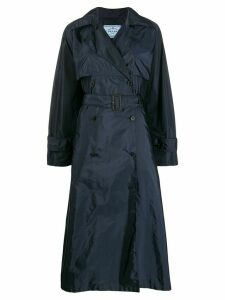 Prada flared double breasted trench coat - Blue