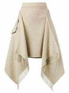 Sies Marjan asymmetric blanket fringe skirt - NEUTRALS