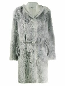 Fabiana Filippi fur-trimmed tie coat - Grey