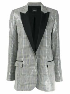 Pinko check print sequinned blazer - White