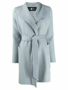 Luisa Cerano belted single-breasted coat - Blue