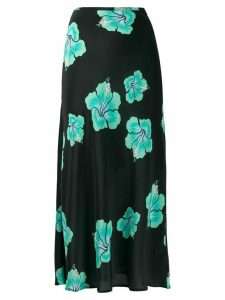 Rixo Kelly hibiscus-print crepe de Chine midi skirt - Black