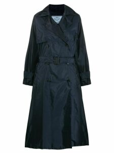 Prada flared mid-length trench coat - Blue
