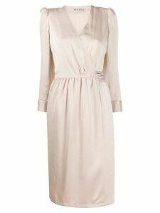 Blanca long-sleeved satin wrap dress - NEUTRALS