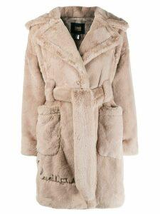 Cavalli Class faux-fur belted coat - NEUTRALS