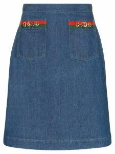 Gucci mini webbing detail denim skirt - Blue