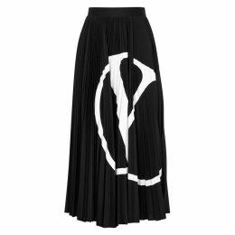 Valentino VLogo Black Pleated Midi Skirt