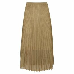Vince Gold Pleated Fine-knit Midi Skirt