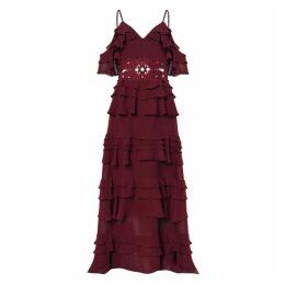 True Decadence True Decadence Burgundy Tiered Maxi Dress