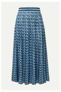 RIXO - Brandy Houndstooth Knitted Midi Skirt - Blue