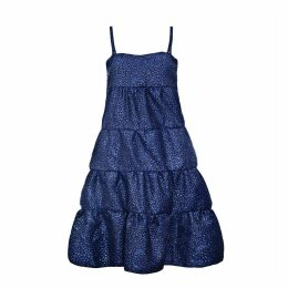 HASANOVA - Midnight Blue Stars Sparkles Midi Dress