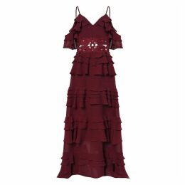 True Decadence - Burgundy Plunge Front Tiered Ruffle Maxi Dress