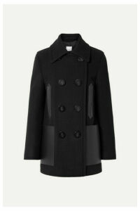 Burberry - Double-breasted Leather-trimmed Wool-blend Coat - Black