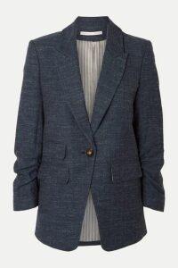 Veronica Beard - Martel Dickey Herringbone Wool, Cotton And Linen-blend Blazer - Navy