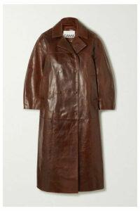 GANNI - Oversized Leather Coat - Dark brown