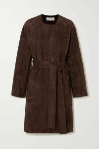 Loewe - Belted Suede Coat - Brown