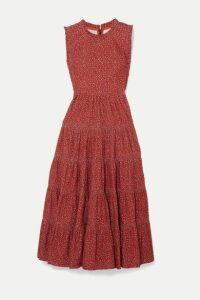 DÔEN - Raven Tiered Floral-print Cotton-corduroy Midi Dress - Burgundy