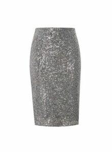 Womens Grey Sequin Pencil Skirt, Grey