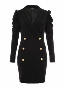 Womens *Quiz Black Puff Sleeve Blazer Dress, Black