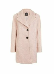 Womens Pink Button Front Boucle Coat, Pink