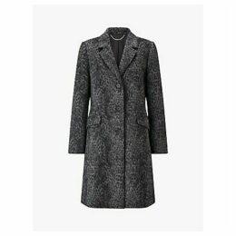 Four Seasons Longline Leopard Print City Coat, Grey Print
