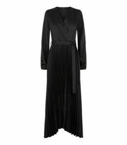 Black Satin Pleated Midi Wrap Dress New Look