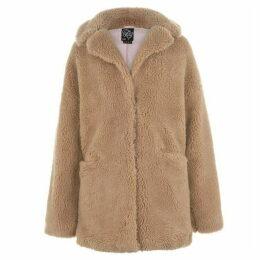 Fabric Teddy Coat - Beige