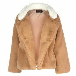 Story of Lola Teddy Faux Fur Stripe Coat - None