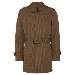 Michael Kors Houndstooth Check Bonded Overcoat - Brown