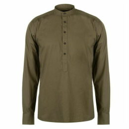 Pierre Cardin Collarless Long Sleeve Shirt Mens - Green