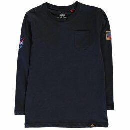 Alpha Industries Nasa Long Sleeve Badge T Shirt - Rep Blue