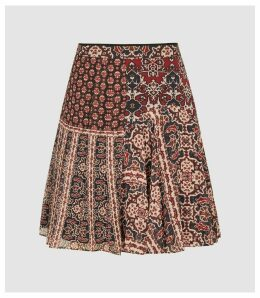 Reiss Izarra - Patchwork Printed Mini Skirt in Red, Womens, Size 16